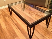 Black wrought Iron look glass top coffee table and matching end tables