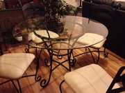 Circular Black Wrought Iron look Dinette Table with 4 Leather Chairs