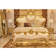 Luxury Gold Finish Bed With Side Table